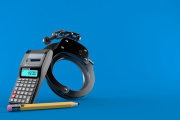 Handcuffs with calculator and pencil