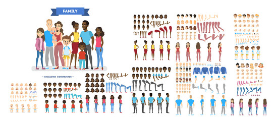 Big family character set for the animation