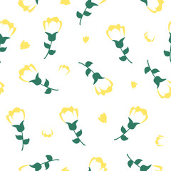 Tulips seamless vector pattern. Modern abstract style floral surface design for fabric, background, wrapping paper, print