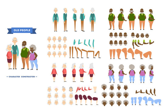 Old african american man character set for animation