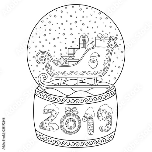 Toy glass snow globe with Santa sleigh. Lettering number 2019 ...