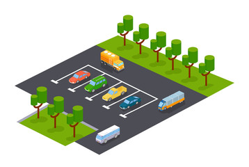 Modern parking with parking zone for cars and other vehicles.