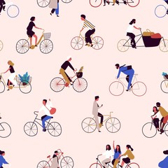 Seamless pattern with people riding bikes or bicyclists. Backdrop with men and women on bicycles. Colorful vector illustration in flat cartoon style for wrapping paper, textile print, wallpaper.
