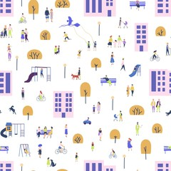 Seamless pattern with men and women walking with children or dogs, riding bicycles, sitting on bench in city suburbs. Backdrop with people performing outdoor activities on street. Vector illustration.