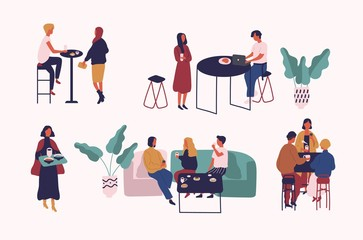 Wall Mural - Collection of people sitting at tables, drinking coffee or tea and talking to each other. Set of men and women at cafe or coffeehouse. Colorful vector illustration in trendy flat cartoon style.