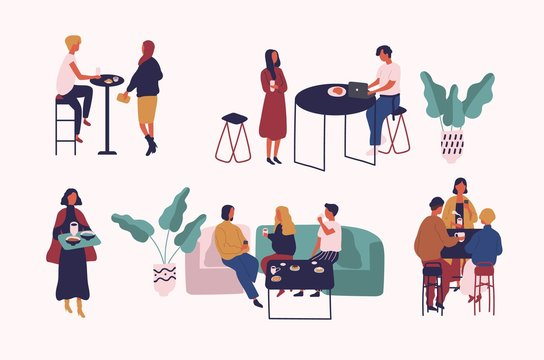 Collection of people sitting at tables, drinking coffee or tea and talking to each other. Set of men and women at cafe or coffeehouse. Colorful vector illustration in trendy flat cartoon style.
