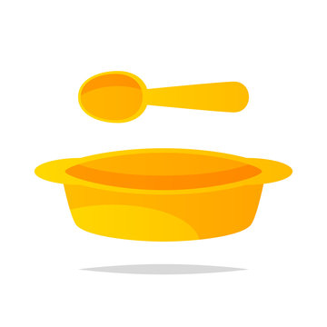 Baby bowl and spoon vector isolated