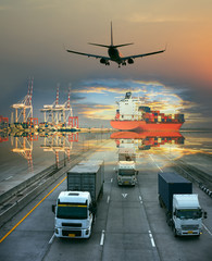 the logistics system services are all include seafreight saling with land trucking trailer and air swift delivery shipments always in time, one stop services for all kinds of transports cargo services - fototapety na wymiar