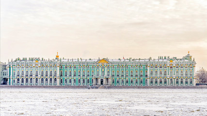 The State Hermitage Museum. winter view from the frozen Neva