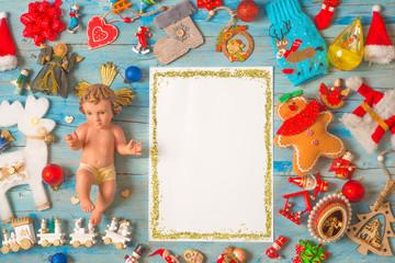Christmas Baby Jesus, blank frame background cards