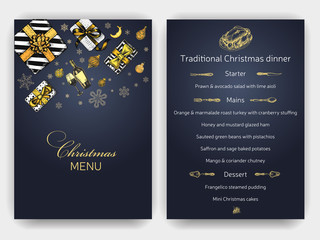 Vector illustration sketch christmas menu. Holiday banner. Template with hand drawn Decorations graphic. Happy New Year Card.