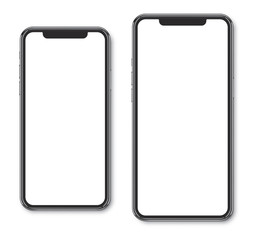 Smartphone frame less blank screen big and small size