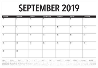 September 2019 desk calendar vector illustration