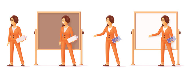 Vector woman pointing at flip chart whiteboard