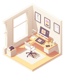 Vector isometric graphic designer workplace