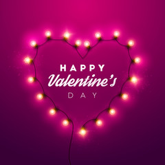 Valentine`s Day background. Vector retro neon sign.