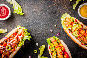 Assortment of different hot dogs