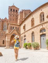 Traveler woman at the Santa Maria de Valldonzella Monastery