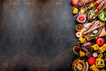 Various barbecue grill food Wall mural