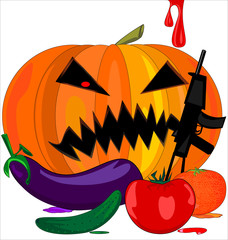 abstract image of evil Halloween pumpkin and vegetables