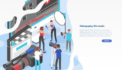 Website template with group of people shooting video and place for text. Videography service or film production studio. Trendy colorful isometric vector illustration for advertisement, promotion.