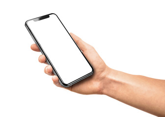 Man hand holding the black smartphone with blank screen