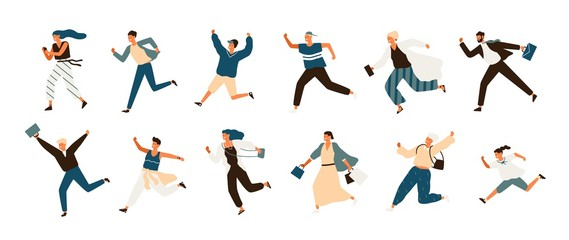 Wall Mural - Collection of joyful running men and women dressed in casual clothes. Set of funny smiling people in hurry or haste. Happy flat cartoon characters isolated on white background. Vector illustration.