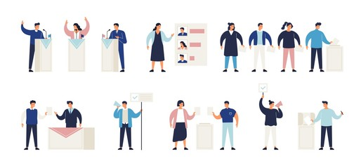 Wall Mural - Political election process set. Bundle of people putting ballots in box at polling station, choosing candidate or voting, politicians taking part in debate, agitators. Isometric vector illustration.