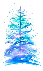Watercolor fir, pine with snow, snowdrift on a white isolated background. Picture of a pine forest, a blue silhouette of trees. Christmas tree isolated. Winter landscape.