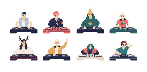 Wall Mural - Collection of male and female DJ s isolated on white background. Bundle of cute funny disc jockeys playing music records on audio mixers or controller. Vector illustration in flat cartoon style.