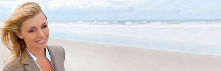 Panoramic Web Banner Beautiful Blond Woman At the Beach
