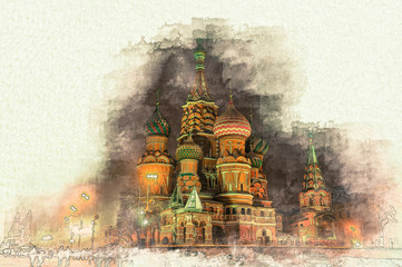 Fototapete - Stylized by watercolor sketch painting of beautiful St Basils Cathedral at night on a textured paper. Retro style postcard.