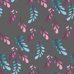 Texture with flowers and plants. Floral ornament. Original flowers pattern.