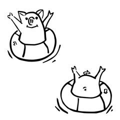 two vector funny cartoon pigs and flotation rings