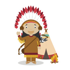 Native american cartoon character with a typical tepee. Vector Illustration. Kids History Collection.