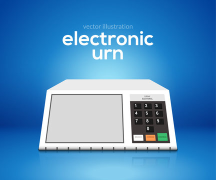 Electronic urn voting computer. Vector brazil choice president elections electronic voting urn design