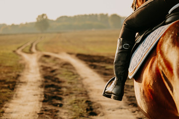 Young woman horseriding in sunset on the fields. Close up