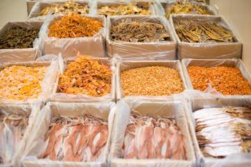 Dry food on the markets of Western Hong Kong, Sheung Wan, Hong Kong Island, Hong Kong, China, Asia