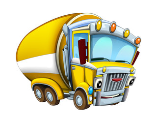 Cartoon happy and funny looking cistern truck street cleaner on white background - illustration for children