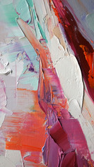 Fragment of multicolored texture painting. Abstract art background. oil on canvas. Rough brushstrokes of paint. Closeup of a painting by oil and palette knife. Highly-textured, high quality details.