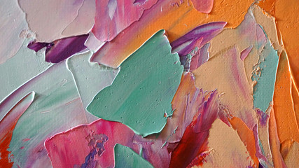 Obraz Fragment of multicolored texture painting. Abstract art background. oil on canvas. Rough brushstrokes of paint. Closeup of a painting by oil and palette knife. Highly-textured, high quality details. - fototapety do salonu