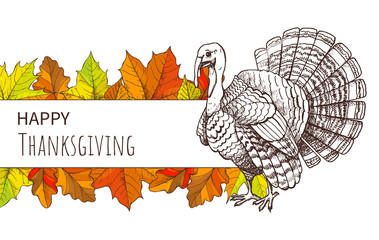 Thanksgiving Poster with Turkey and Fall Leaves