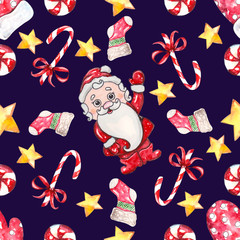 watercolor hand drawn Santa Seamless pattern
