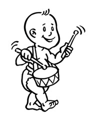 baby boy with diaper goes with drum and sticks black and white