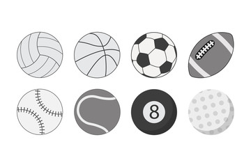 Set of balls for different sports. Icons of sports balls. Vector illustration.