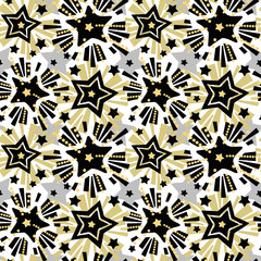 Star festive print, seamless motif, Christmas hand craft expressive ink repeat trendy pattern.