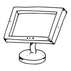 Monitor icon. Vector illustration of a monitor. Hand drawn computer monitor.  LCD monitor.
