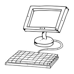 Flat computer monitor with keyboard. LCD monitor. Vector illustration of a flat monitor. Hand drawn flat computer monitor.
