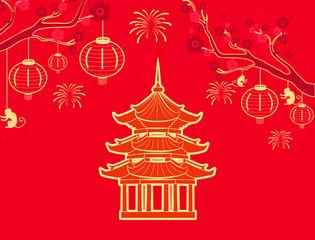 China and Chinese Country Signs Symbols Set Vector