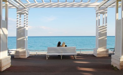 nice, france, sea, beach, bench, water, blue, sand, summer, couple, chair, sitting, vacation, nature, woman, holiday, horizon, relax, seat, relaxation,